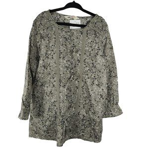 H&M NWT Gray Small Floral Print LS Top 8-9 yrs